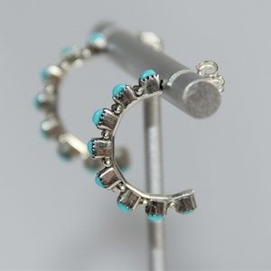 "Zuni Turquoise Sterling Silver 1"" Hoop Earrings"